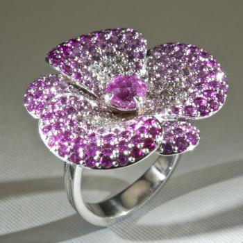 18ct W/G Pink Sapphire & Diamond Flower Ring