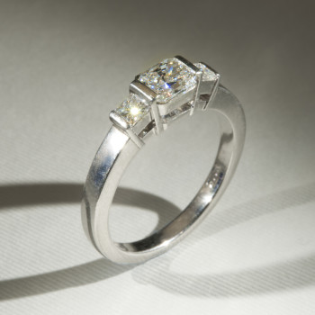 Platinum Radiant & Princess Cut Diamond 3/St Ring