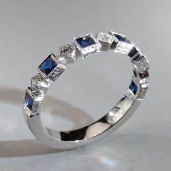 18ct W/G Blue Sapphire & Diamond Eternity Ring