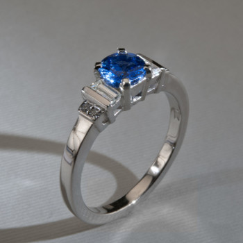 Platinum Blue Sapphire, Baguette & Brilliant Cut Diamond Ring