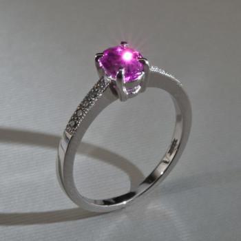 Platinum Pink Sapphire & Diamond Ring