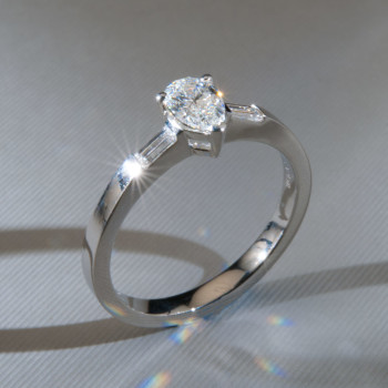 Platinum Pear Shape & Baguette Cut Diamond Ring