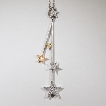 18ct W/Y/R/G Diamond Star Pendant