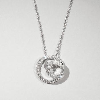 18ct W/G Diamond Swirl Pendant