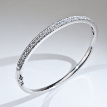 18ct W/G Diamond Set Bangle