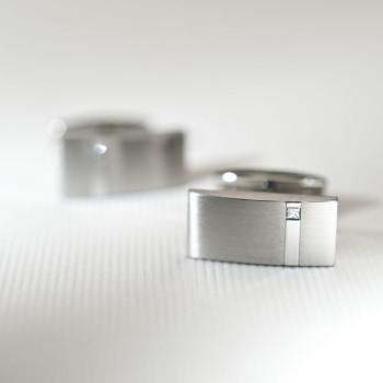 Steel & princess cut diamond set cufflinks