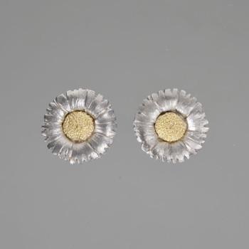 18ct W/G & 22ct Gold Daisy Earrings