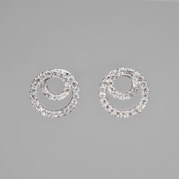 18ct W/G Diamond Swirl Earrings