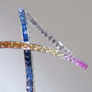 18ct W/G Sapphire Rainbow Bracelet