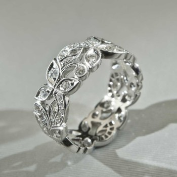 18ct W/G Diamond Floral Band Ring
