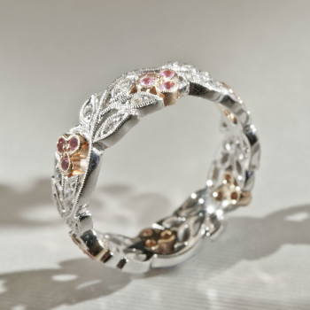 18ct W/R/G Diamond & Pink Sapphire Cherry Floral Ring