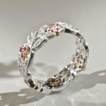 18ct W/R/G Diamond & Pink Sapphire Cherry Floral Ring