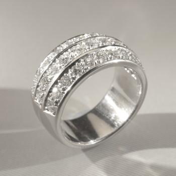 18ct W/G Brilliant Cut Diamond 3-Row Eternity Ring